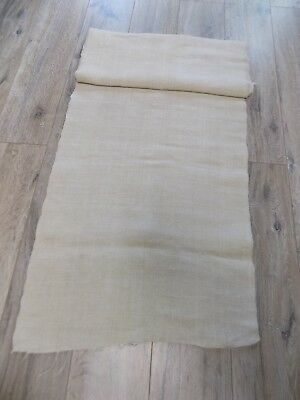 Antique homespun thin Flax Linen Fabric 19thC 5,4x0,5m Beige Great condition