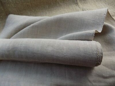 Antique homespun thin Hemp Fabric 19thC Light Gray 5,7x0,46m Great condition