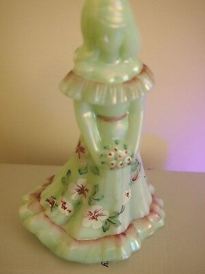 """fenton"" Bridesmaid Soft Green Opalescent Glass, Hand Painted"