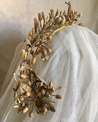 Two Lovely Antique 19thC French Wedding Crown Tiara Wax Orange Blossoms & Buds