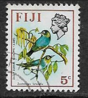 FIJI POSTAGE ISSUE -  USED QE11 DEFINITIVE STAMP 1971 - BIRDS & FLOWERS 5c