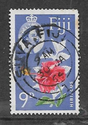 Fiji Postage Issue -  Used Qe11 Definitive Stamp 1963 - Flowers - Hibiscus