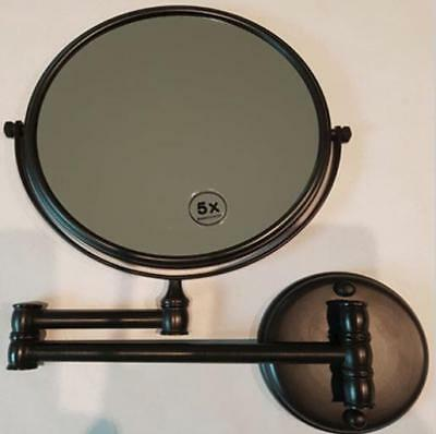 Magnifying Makeup Mirror, New, Wall Mounted 5X Magnification, Antique Black