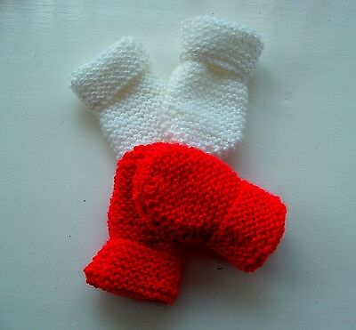 Baby Hand Knitted Mittens, 2 Pairs -  White & Red, 0-3 Months, New