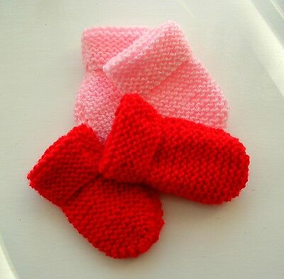 Baby Hand Knitted Mittens, 2 Pairs -  Pale Pink & Red, 0-3 Months, New