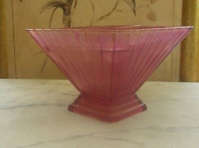 XMAS SALE : Vintage Art Deco Pink Depression Glass Vase and Flower Frog Insert