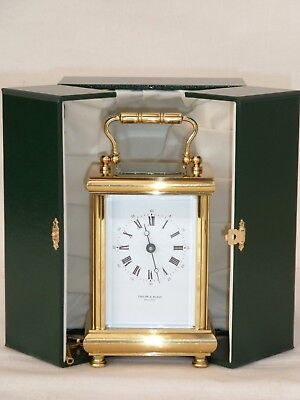 Superb Taylor & Bligh 8 Day Brass Carriage Mantel Mantle Clock + Display Case