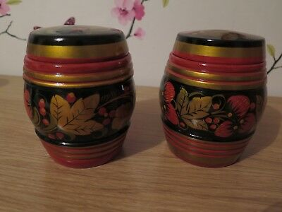 Russian canisters - pair - beautiful hand painted - red/black/gold floral