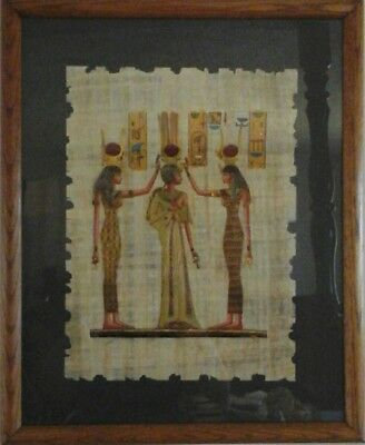 Framed EGYPTIAN Hand Painted Genuine PAPYRUS of QUEEN NEFERTARI Signed
