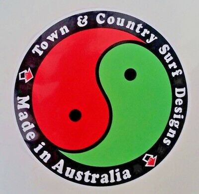"""""""TOWN & COUNTRY DESIGNS"""" VINTAGE RETRO Sticker Decal SURFBOARD LONGBOARD SURFER"""