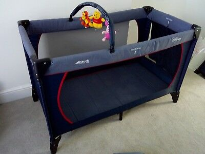 Hauck Disney Dream'n Play Blue Travel Cot with Carry Bag and Toy Bar