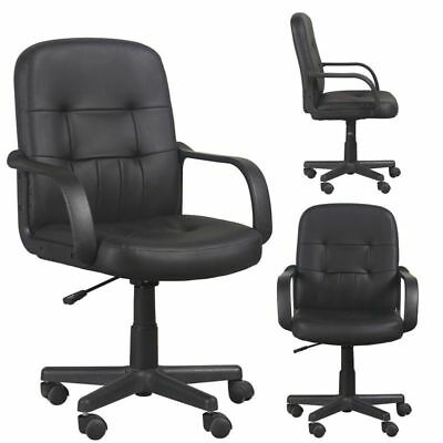 Office Task Chair Black Padded Back Small Executive Adjustable Swivel PU Leather