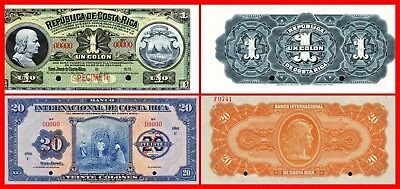 Copy!! 2Old Banknotes Of Costarica--Unc-Reprodouctins Copy...not Real...