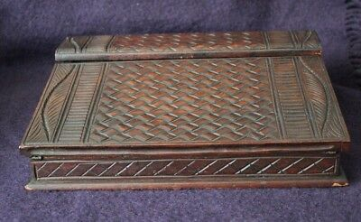 """Antique Unusual Carved Writing Slope - 11.6"""" Long  - Purple Interior - no key"""