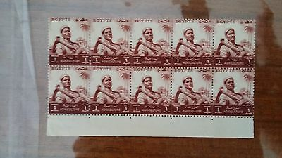 EGYPT 1954-5 1mill red brown mint block of 10 stamps