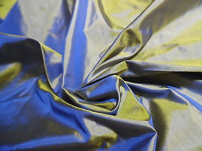 "NEW SIZE! 9""x22"" SILK TISSUE TAFFETA~SILK SHOT~ BLUE/GOLD~ MINIATURE DOLLS"