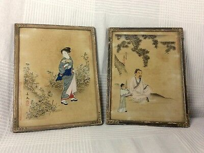 Japanese Antique Woodblock Prints Meiji Period A Pair Of Master Paintings