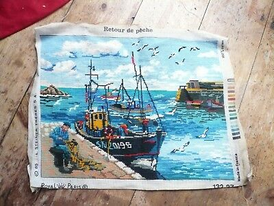 Vintage Tapestry Needlepoint Picture Boat Fishing Scene
