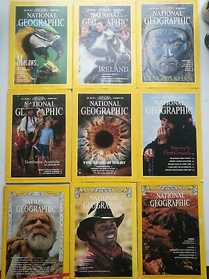 9 Vintage National Geographic Magazines 1973 1976 1977 1989 1991 1992 1994 1996