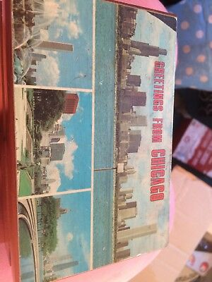 """Xmas Gift Antique/Vintage Wooden Box Greetings From Chicago 5.5""""x 3.75""""x 2.5"""""""