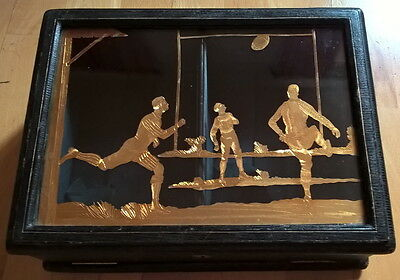 RUGBY-RARE COFFRET VITRÉ-PIÈCE UNIQUE Ca.1870-INCLUSIONS-CUIR-STUNNING RUGBY BOX