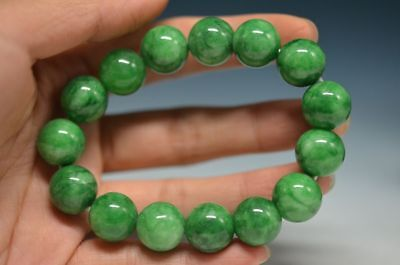 Exquisite Chinese Natural Jade Carved Beads Hand Woven Elastic Bracelet  H7