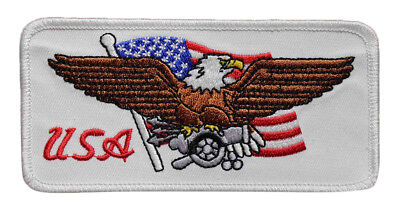 USA Embroidered Iron On Patch - Patriotic US American Flag Bald Eagle Biker 17-T