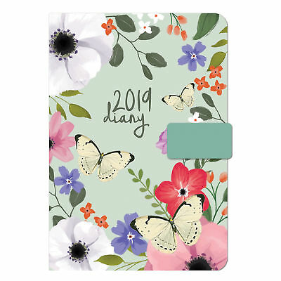 Butterfly  2019 A5 Organiser Diary Page a Day Monthly Index Fabric Look Magnetic