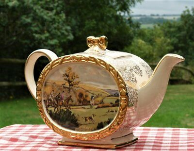 Vintage Sadler Teapot  Hunting Scene  * Country Shabby Chic Tea party