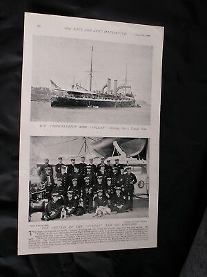 "1896 Photo print TORPEDO-DEPOT SHIP ""VULCAN"" + Magazine cover on the reverse"