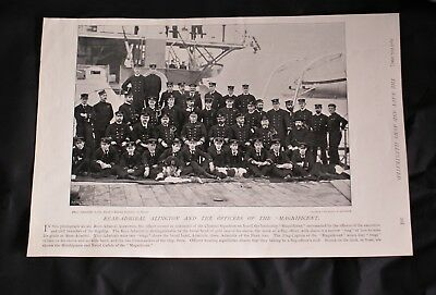 "1896 Photo print REAR ADMIRAL ALINGTON & OFFICERS OF THE ""MAGNIFICENT"""