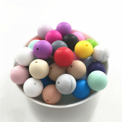 19mm Chunky Round Silicone Beads DIY Baby Chew Teething Necklace Teether Gym Toy