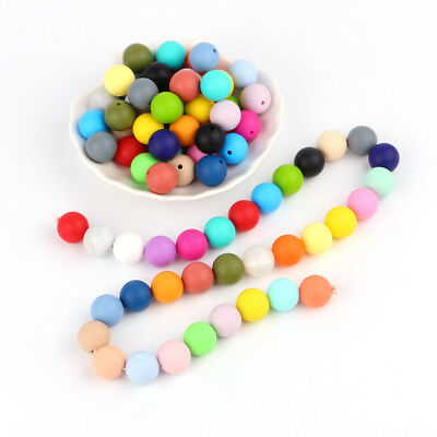 Safe Loose Round Silicone Teething Beads DIY Baby Chewable Necklace Toy BPA Free