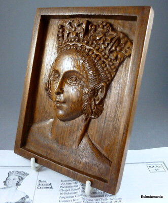 QUEEN VICTORIA Small Hand Carved Hard Wood Plaque