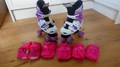 Osprey Roller Boots Girls Size 13-3 with knee, elbow and wrist protectors