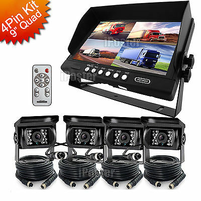 "9"" Quad Monitor+4x 4Pin Rear Front Side View CCD Camera+4x 33Ft Cabe Truck Van"