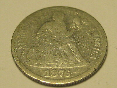 1876-P Seated Liberty Dime Scratches
