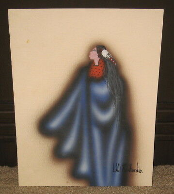Signed Will Redbird Kiowa Indian Original Native American Art Painting