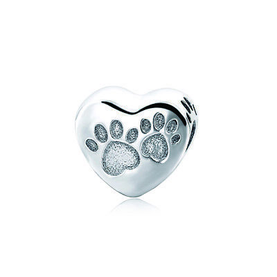 Authentic Pandora 925 Sterling Silver Love Dog MoM Heart Bead Charm Jewelry Gift