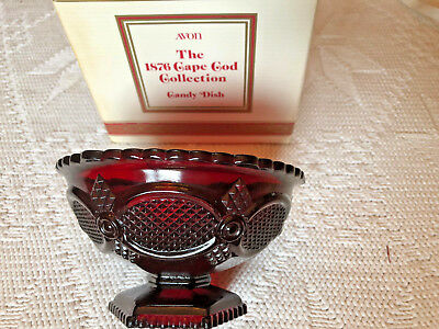 AVON 1876 Cape Cod Collection Ruby Red Glass Footed Candy Dish w/ Box