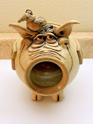 Vtg Stoneware Folk Art Pottery ~ Pig & Bird ~ Bank By Turner Circa 1981 In Euc