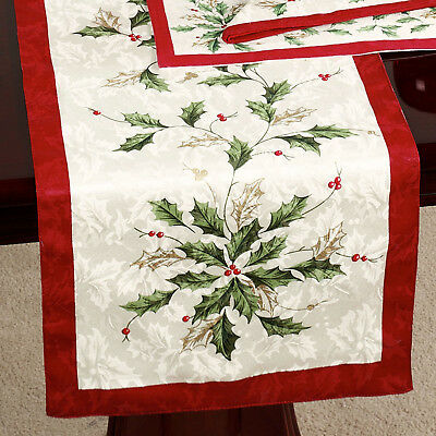 LENOX Scattered Holly Holiday Christmas Ivory/Red/Green Table Runner 14 x 90