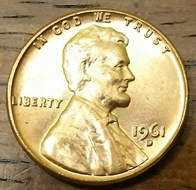 1961d LINCOLN MEMORIAL CENT PENNY AU Very Nice Higher Grade