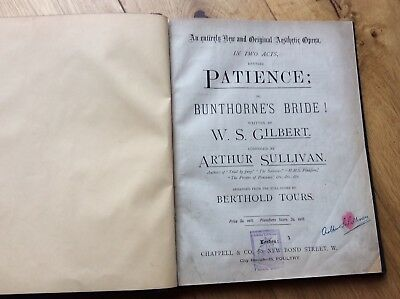 Patience By Gilbert And Sullivan - Vocal Score -  Vintage Hardback