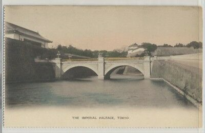 Japan Imperial Palace Tokyo c. 1905 Vintage Real Photo Hand Tinted Postcard