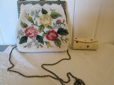 Vintage Beaded Victorian Purse Ornate Metal Fittings Chain Roses Pink China