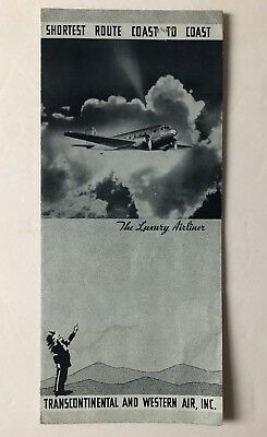 Rare Early TWA Airlines 1934 DC-2 Aircraft Brochure.