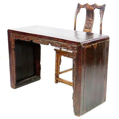 "Antique Chinese 50"" Wide Scroll Foot Table Desk with Carved Splat Back Arm Chair"