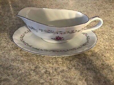 Royal Swirl Gravy Boat w/Underplate Fine China Japan Rose Pattern w/Silver Trim