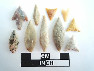 Neolithic Arrowheads x 10, High Quality Selection of Styles - 4000BC - (0396)